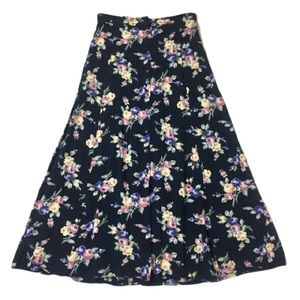 Vintage Anchor Blue Floral Button Front Long Skirt
